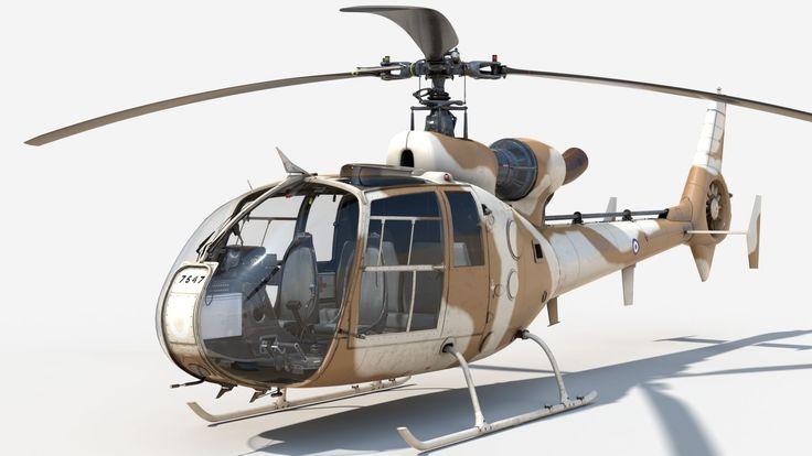 helicopter gazelle sandy 3d model obj fbx ma mb lxo lxl mtl tga 1