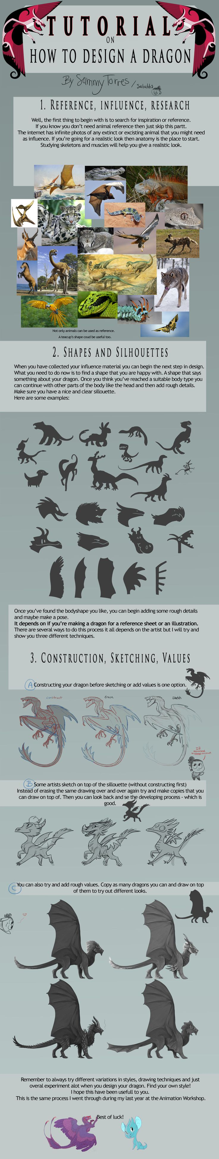 TUTORIAL: How to Design a Dragon by SammyTorres.deviantart.com on @deviantART