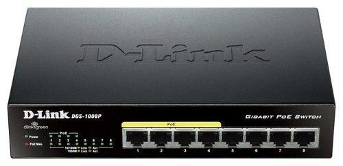 D-Link - PoE 8-Port 10/100/1000Base-T Gigabit Ethernet Switch - Black