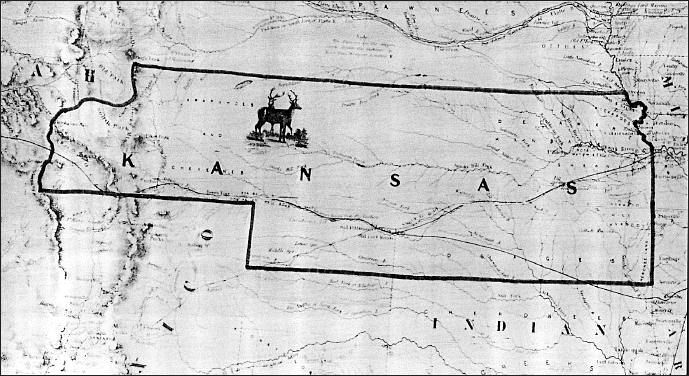 1854 map created by J. H. Colton At the establishment of Kansas territory in 1854 the summit of the Rockies was the designated farthermost western boundary. Thus Denver, founded in 1858 and named for Kansas Gov. James W. Denver, was within the boundaries of Kansas. Above is a reproduction of a portion of J. H. Colton's map, Nebraska and Kansas 1854, even before Denver came upon the scene.