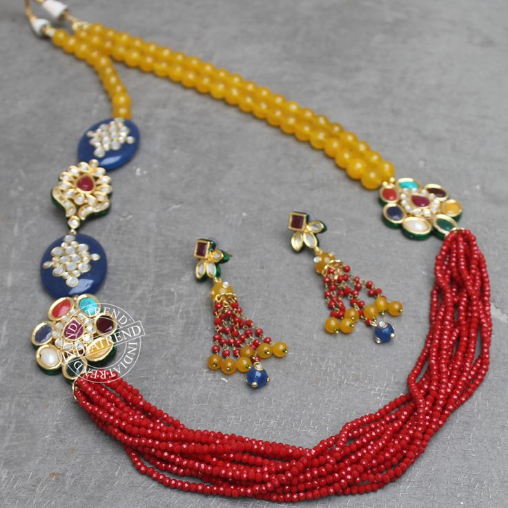 The VRISHTI NECKLACE + EARRING by Indiatrend. Shop Now at WWW.INDIATRENDSHOP.COM