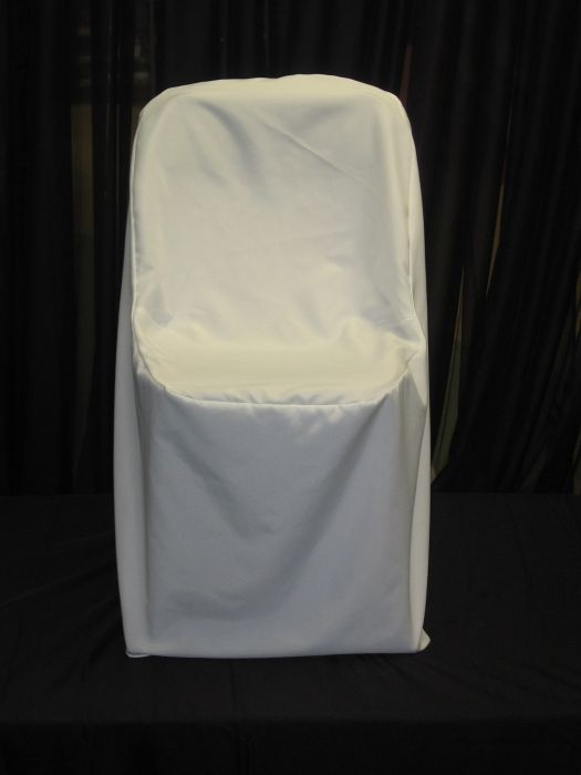Samsonite Chair Cover white. This chair cover will fit our samsonite folding chairs.  This is ideal for outdoor weddings or special events.  The regular chair covers are too large to fit the smaller chairs.