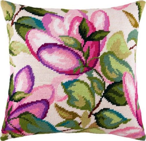 Magnolia pillowcase cross stitch DIY embroidery kit, needlepoint