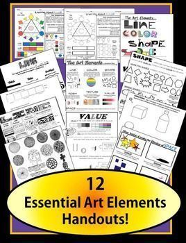 A packet full of my most essential handouts for easily teaching the Art Elements! Beautiful, clear l, handouts ready to go!  This product contains:2 handouts to introduce the Elements of Art (one for visual learners and one with written definitions and pictures).COLOR THEORY Handout + BONUS  worksheet for students that covers the color wheel, color vocabulary,warm and cool colors, Color contrast combination tips, color mixing (red, yellow and blue vs.