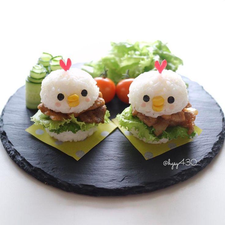 """7,242 mentions J'aime, 75 commentaires - yuka (@hgsy430) sur Instagram : """"2017.5.17 * #Yakiniku #riceburger ♡ * お返事前にすみません コメントお気遣いなく 先週末に作ったトリさん #焼肉ライスバーガー✨…"""""""