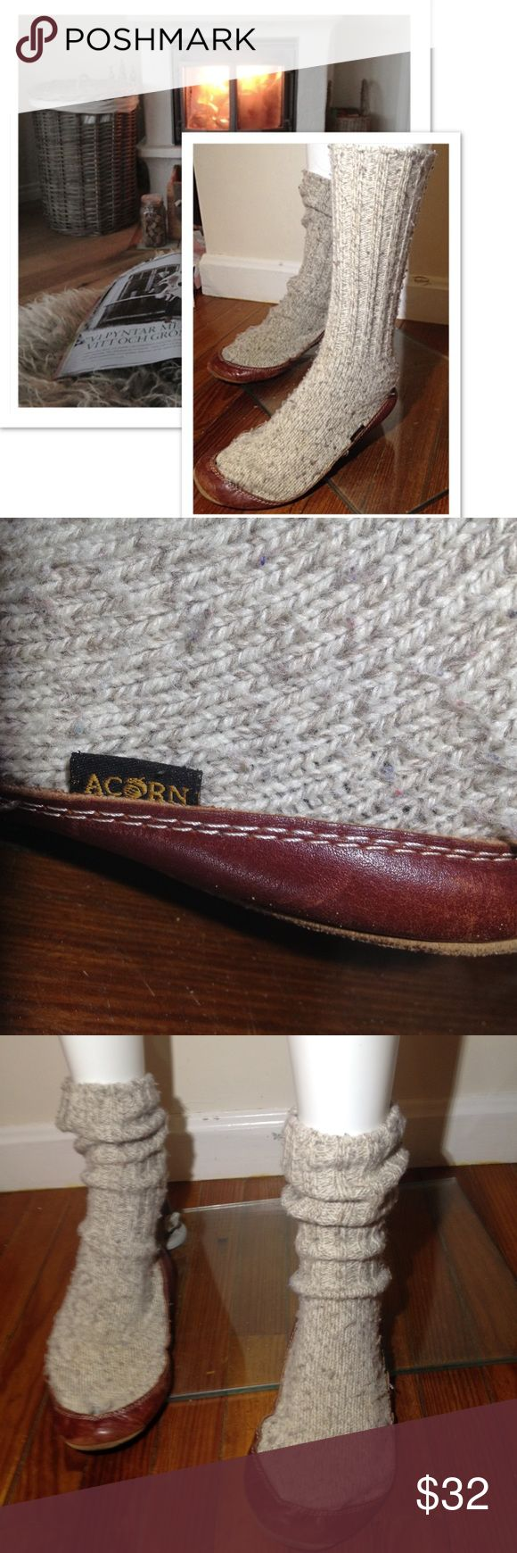"""BUY 1 GET 1 FREE sale 5-7 ACORN Slippers ACORN 14"""" Long Wool Slippers Mohagany Base Trim Oatmeal color WOMENS Size XXS 5-7 Christmas gift idea stocking stuffers cover photo is to show style Acorn Shoes"""