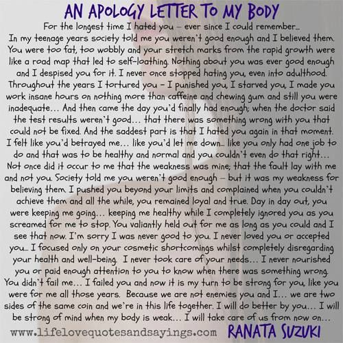 """""""For the longest time I hated you – ever since I could remember... In my teenage years society told me you weren't good enough and I believed them. You were too fat, too wobbly and your stretch marks from the rapid growth were like a road map that led to  https://www.scribd.com/recert911"""