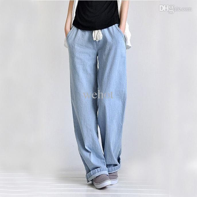 Selecting cheap  wholesale-plus size casual comfortable loose wide leg pants women's straight jeans elastic waist full length trousers free shipping on DHgate.com? Here, you can find a large selection of jeans at cheap price and with best service.