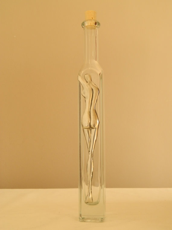 Glass Bottle Pewter Embossed Abstract Nude II by Loutul on Etsy, $25.00