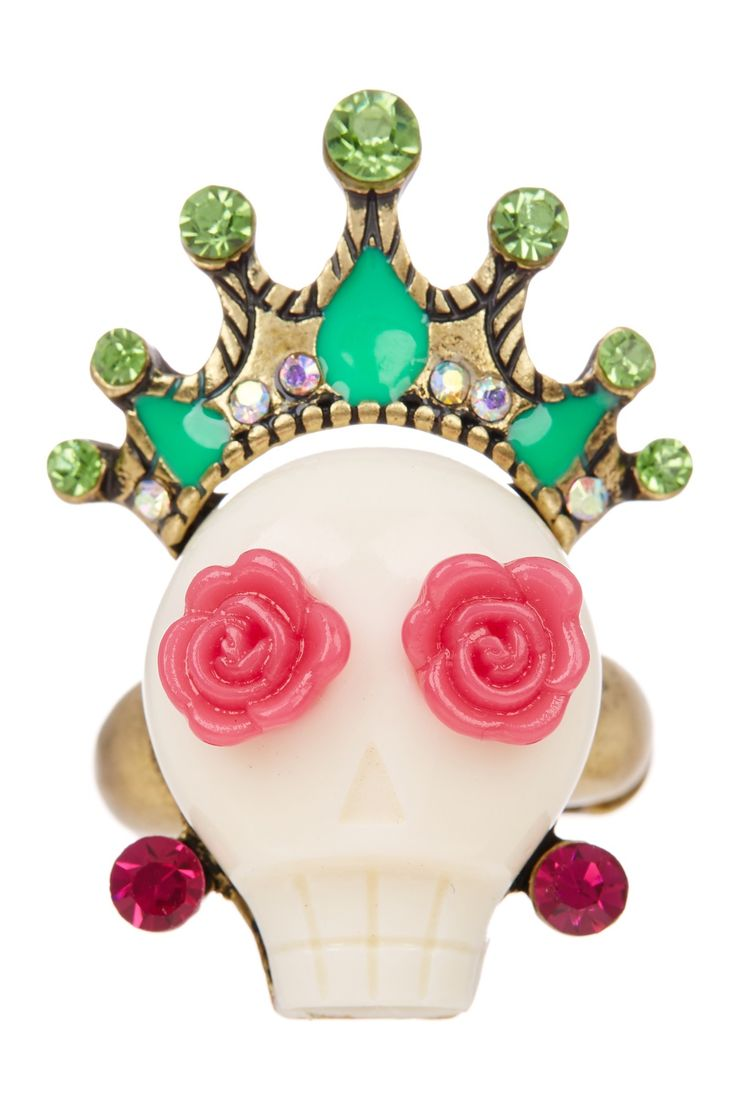 Caribbean Queen Skull Stretch Ring by Betsey Johnson on @nordstrom_rack