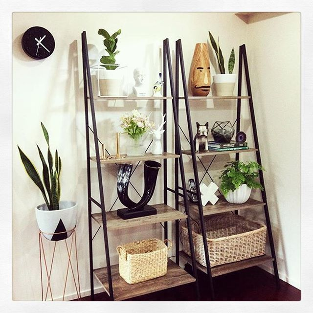 60 best ladder images on pinterest shelving brackets for Pot shelf decorating ideas