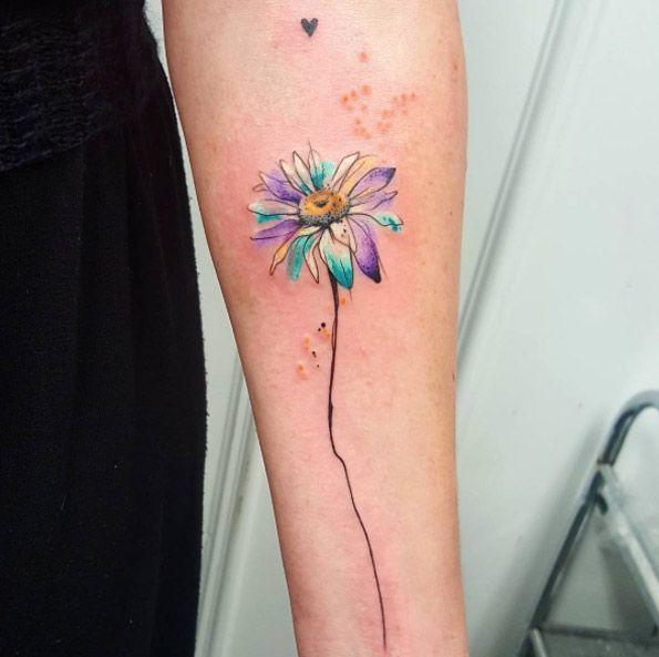 Watercolor Daisy Tattoo by Simona Blanar