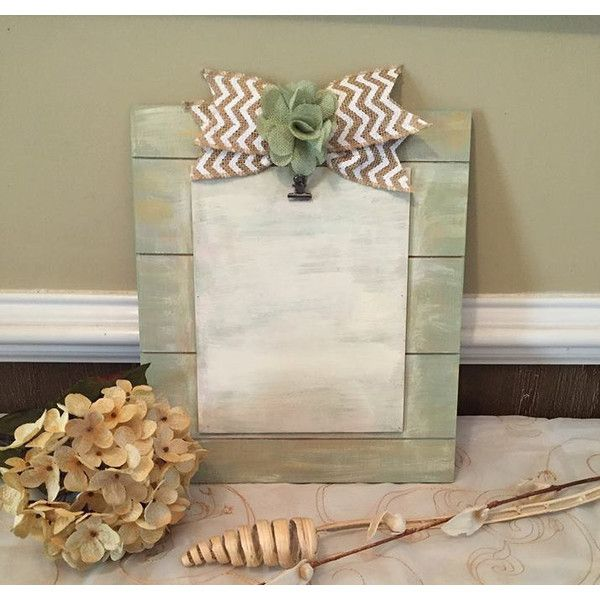 Cottage Chic Picture Frame ($32) ❤ liked on Polyvore featuring home, home decor, frames, colored frames, bow wreath, wedding plaques, 5x7 picture frames and clip frames