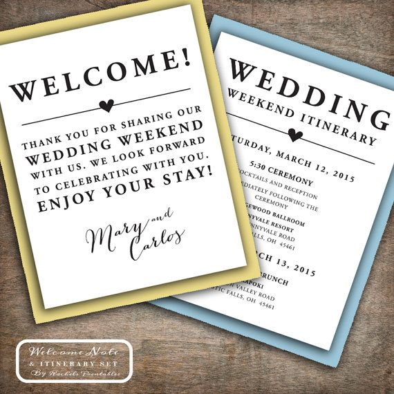 Printable set includes a wedding welcome note and itinerary to use as wedding welcome bag tags, notes, labels, etc. Great for your hotel, out of town, and destination wedding guest welcome bags. You can print these double sided or use as separate note and itinerary cards. Looks fantastic printed on Kraft paper and layered with a contrasting backing (see example in listing photos).  The Welcome Note side says Welcome! across the top in bold letters, followed by, Thank you for sharing our…