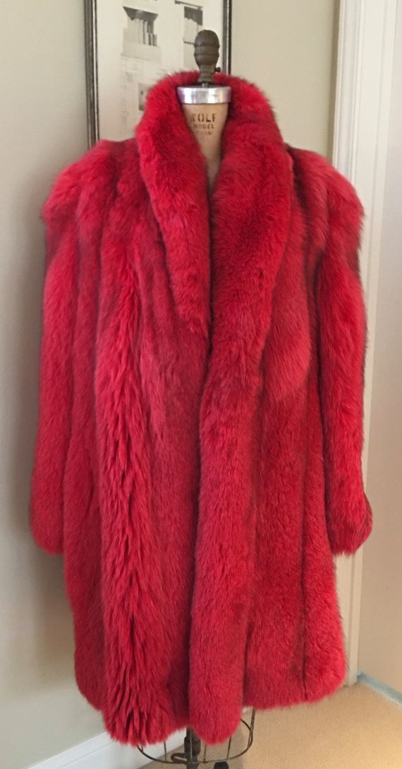 Red Dyed Fox Fur Stroller Full Length Coat by newgenerationvintage