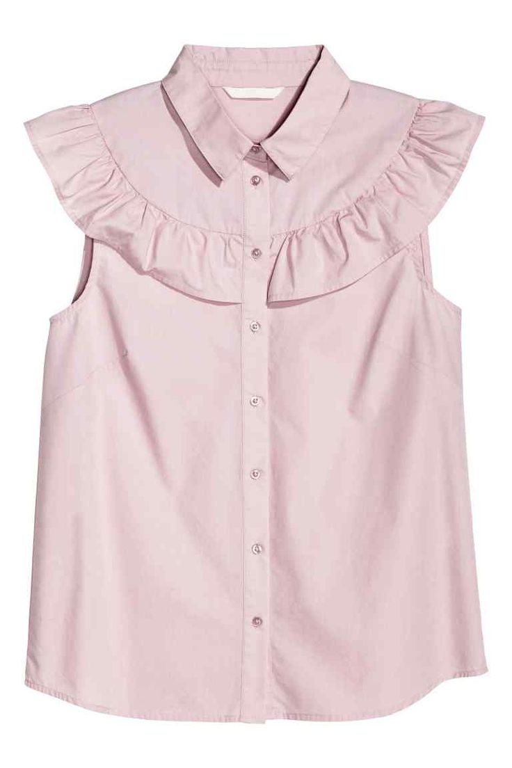 Cotton blouse: Blouse in a cotton weave with a collar, frilled yoke and buttons down the front.