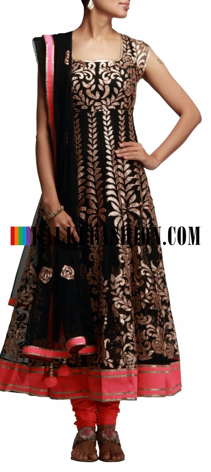Buy Online from the link below. We ship worldwide (Free Shipping over US$100) http://www.kalkifashion.com/black-anarkali-suit-with-applique-work.html Black anarkali suit with applique work