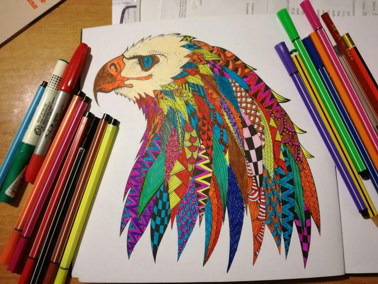 Disegnare, stampare, colorare. Testa d'aquila
