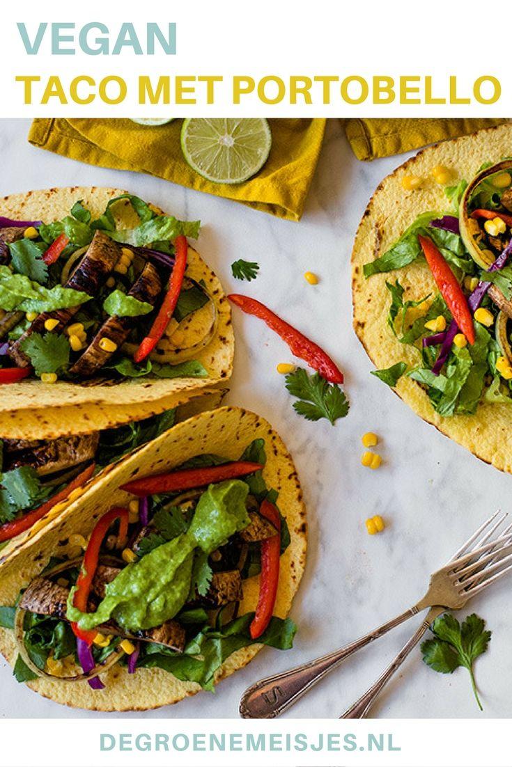 Maak ook eens deze taco's met gegrilde portobello. Vul het verder met mais, paprika, rode kool en avocado. Lees het hele vegan recept op de blog.