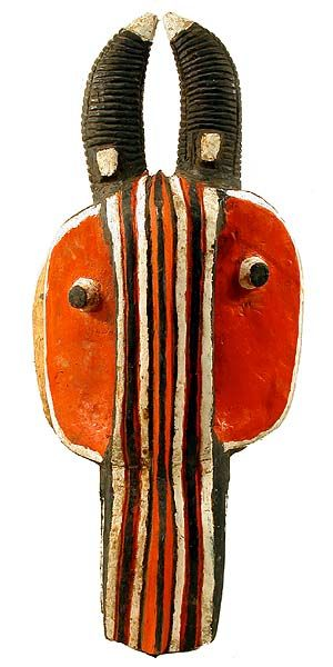 Baule Goli Glin Mask 1, Ivory Coast  The Baule are one of the Akan peoples. They moved west to the Ivory Coast more than 200 years ago and adpted masking traditions from their neighbors, the Guro, Senufo and Yaure peoples. There are four basic types used in a special dance of rejoicing called Goli, symbolizing the social order, Kplekple, the junior male, Goli Glin, the senior male, Kpan Pre, the junior female ans Kpan, the senior female. This second type, a Goli Glin mask, rep...