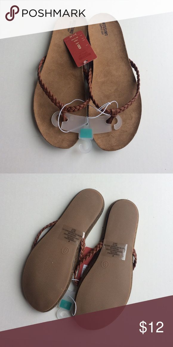 Mossimo Leather Braided Flip Flops Camel colored leather braided flip flop style sandals. New with tags. Mossimo Supply Co Shoes Sandals