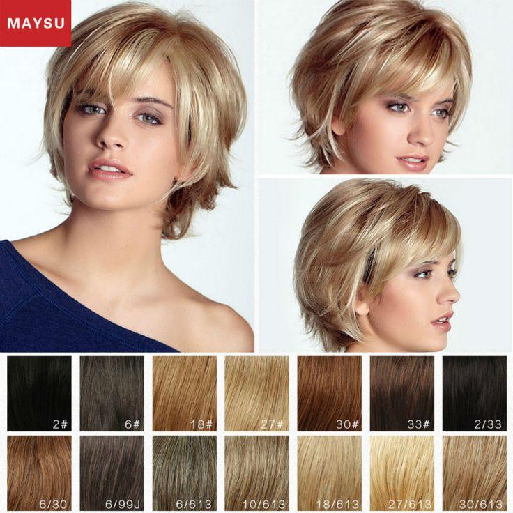 MAYSU Krótki Ludzki Włos Peruki Dla Kobiet New Arrival Elegancki blond Peruka Najlepsze Brazylijski Dziewiczy Włosy Peruka Bezpłatne Prezent Z zakup