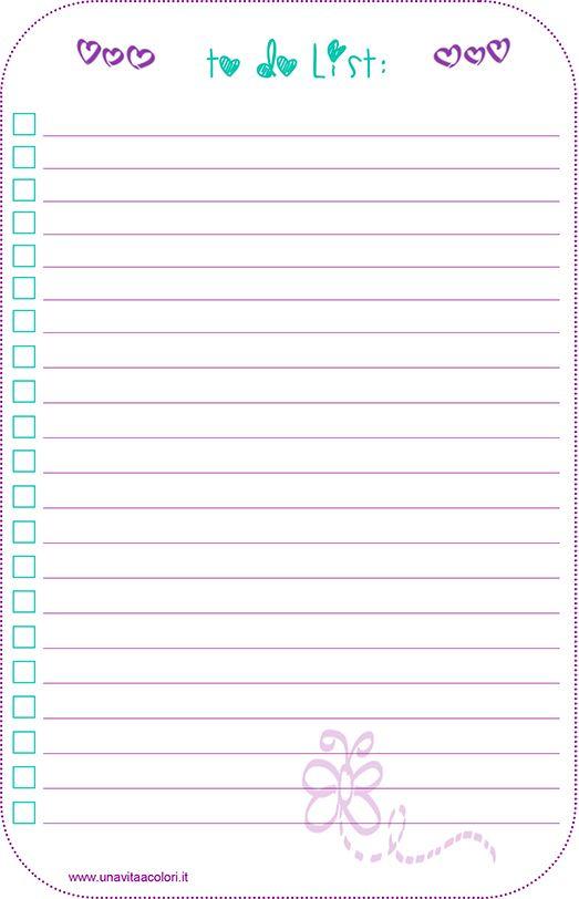 La lista todo per agenda filofax ti serve per segnare le cose da fare ed il quadratino ti permetterà di segnare cosa hai fatto. File pdf stampabile gratis.