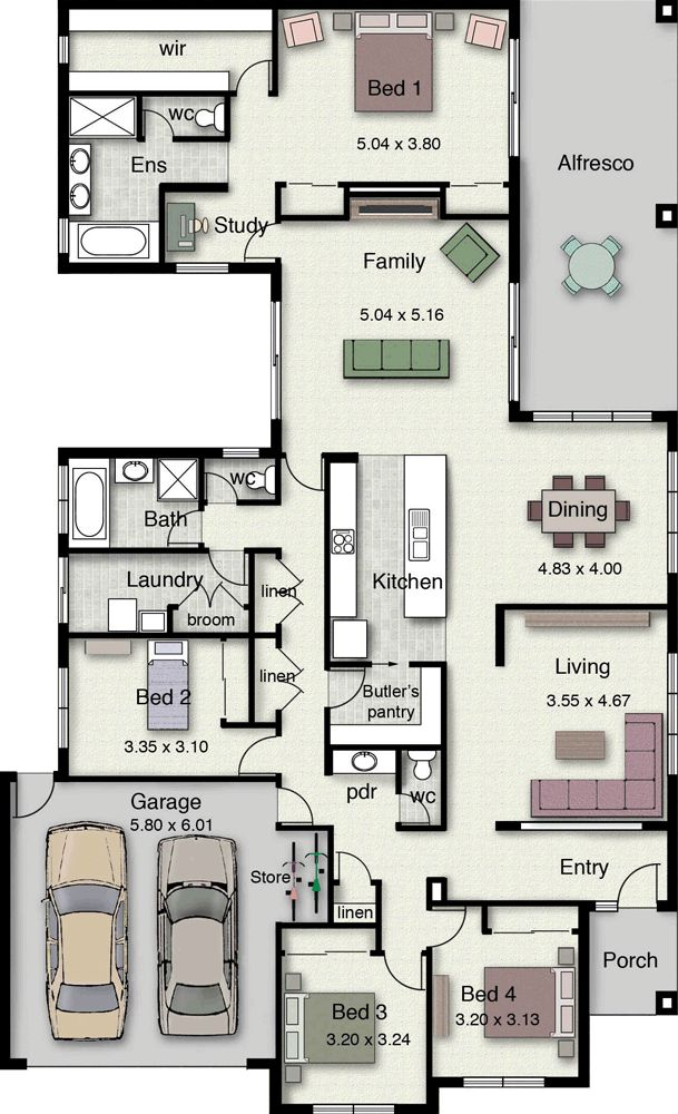 Home Design - Lockhart 310 | Hotondo Homes Hotondo Homes, interesting kitchen placement