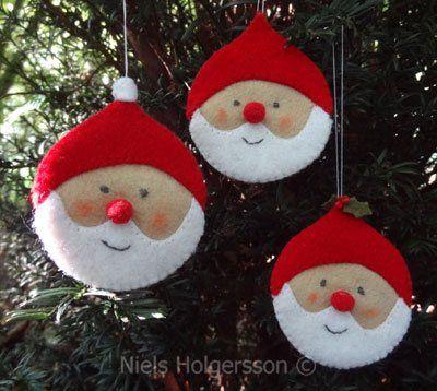 felt Santa ornaments