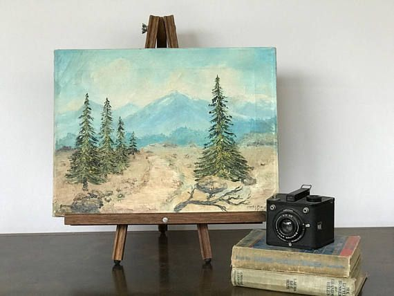 Vintage Mountain and Evergreen Trees Landscape Painting