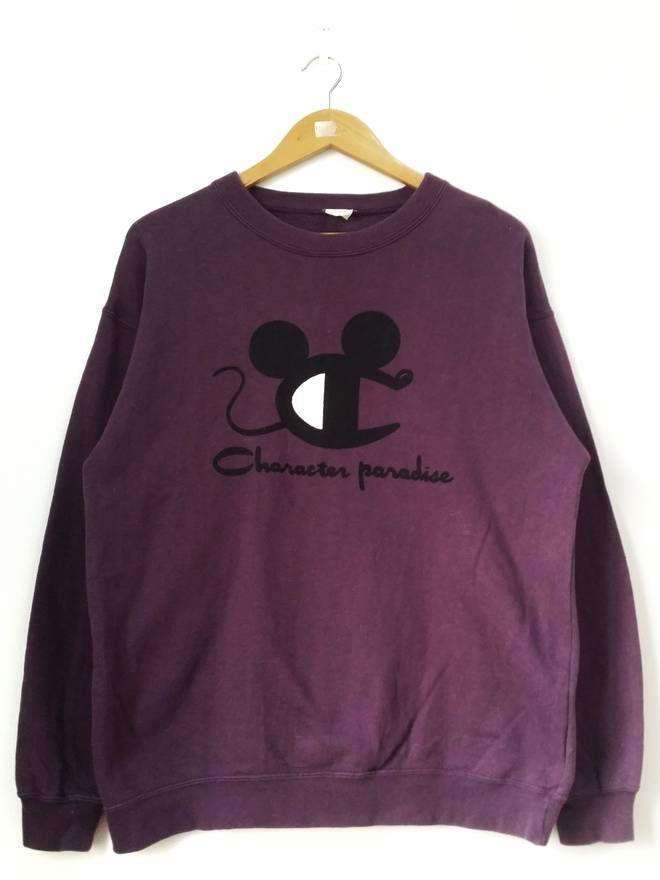 1d1aa08e Vintage Vintage 90's Characters Parody Champion X Disney Purple Sweatshirt  Pullover Jumper Size Large Size US L / EU 52-54 / 3