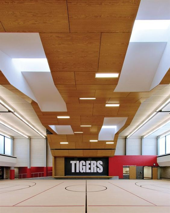 "educational ceilings & educational ceiling_Dake Wells Architecture_Exeter School : educational ceilings_Dake Wells Architecture_Exeter School : sound absorbent tectum panels, and a wooden ""wrapper""—inspired by sushi—focuses attention on the stage while diffusing the sound during performances, elementary school gym used also for theater, cafeteria, and gymnasium"