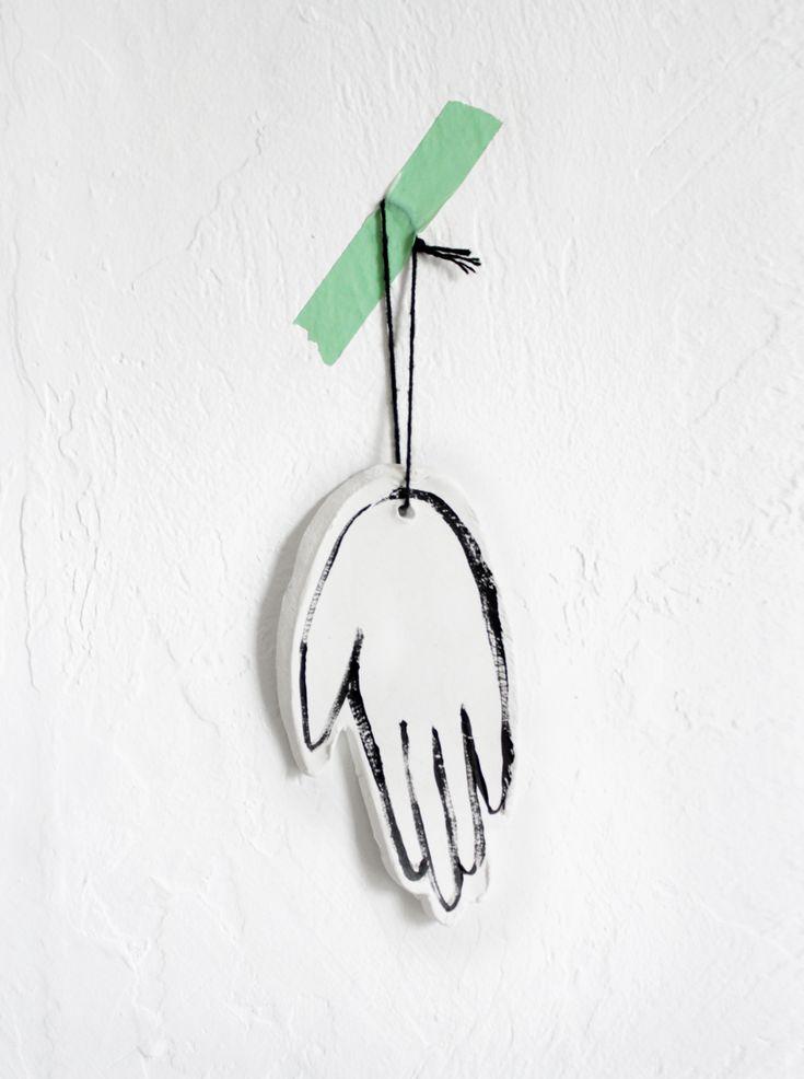 Modern Child's Hand Print Ornament