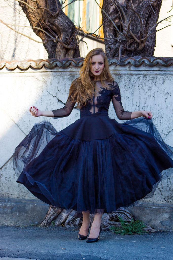tulle black dress, street style fashion, thew little black dress