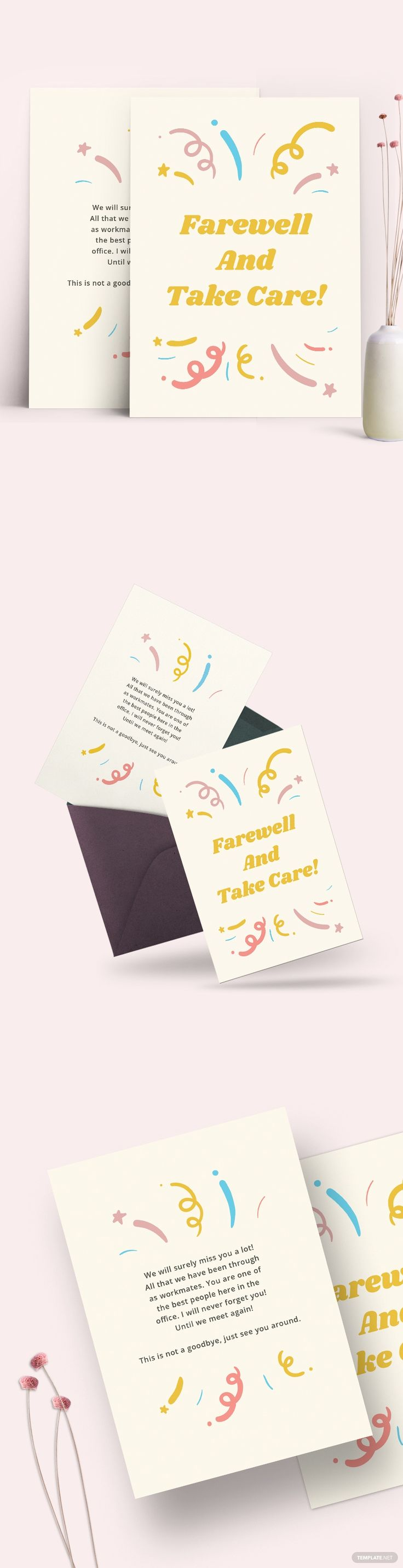 office farewell card template free pdf  word  psd