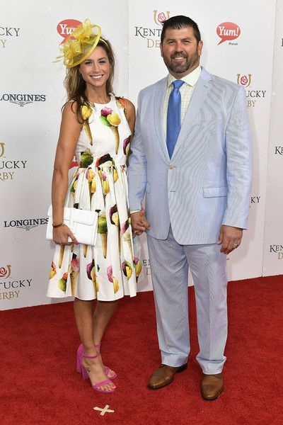 Catherine Panagiotopoulos and Jason Varitek attend the 143rd Kentucky Derby at Churchill Downs on May 6, 2017 in Louisville, Kentucky.