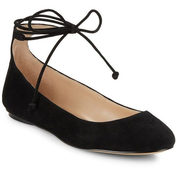 Karl Lagerfeld Paris Larose Suede Lace-Up Flats (54 AUD) ❤ liked on Polyvore featuring shoes, flats, black, black suede flats, lace up flats, round toe lace up flats, black shoes and laced flats