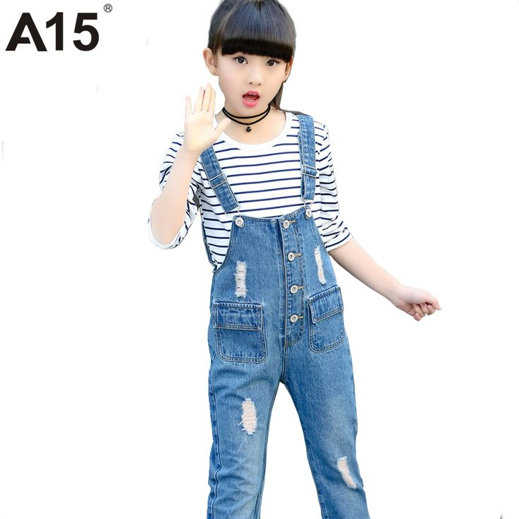 A15 Blue Skinny Ripped Jeans for Girl 2017 New Arrival  Kids Jeans Pants Girl Teenage Girl Jeans Pants Overalls Age 7 8 10 12 13