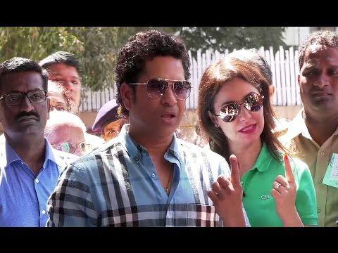 Sachin Tendulkar & his wife Anjali cast their votes for BMC election 2017.