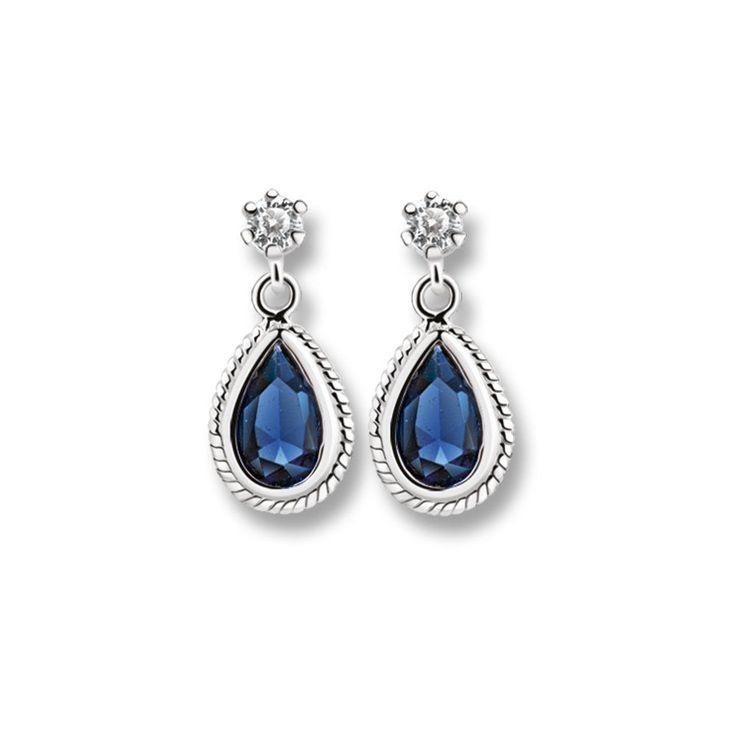 Newbridge Silverware Drop Earrings with Clear and Sapphire Blue Stones Glamorous and elegant these beautiful drop earrings with a blue stone setting