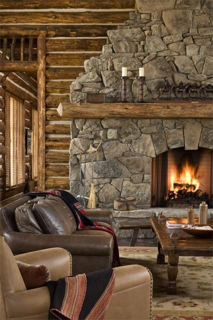 93 best images about fireplaces on pinterest rustic for Log cabin fireplace designs