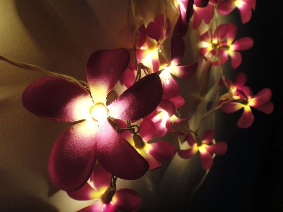 35 Flowers Purple Frangipani Fairy Lights String Home Accent Floral Party  Patio Wedding Floor Table or