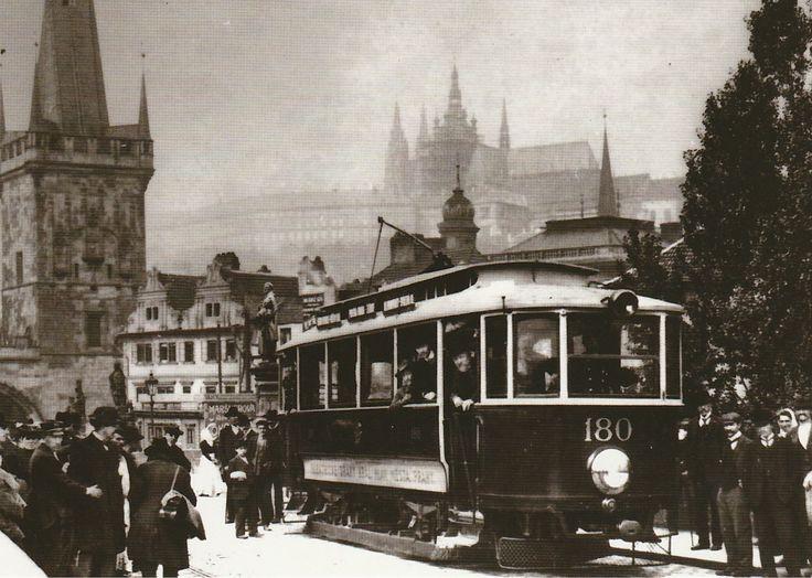 An electrical tram on Charles Bridge, Prague, Czech Republic, 1905
