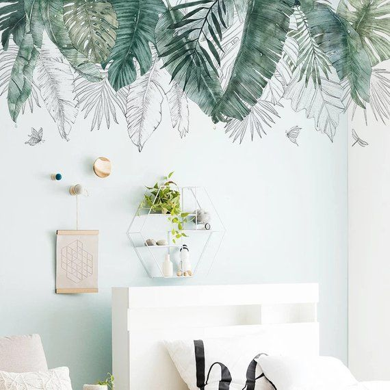 Large Wall Decal Watercolor Fresh Green Palm Leaves Wall Stickers