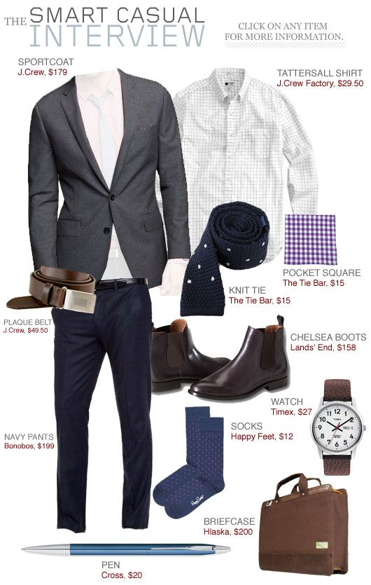 Casual--but still clean and professional. You can still show some personality with an outfit like this.