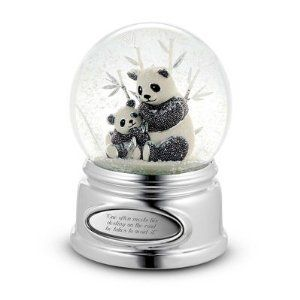 Personalized Beaded Panda Snow Globe Gift by Things Remembered. $34.99. Pandas are known for developing a special bond with their baby, and that connection between mother and child really comes to life in this charming water globe. And with your engraved message (Congratulating a new mom? Celebrating baby's birth?), this is a gift that will resonate with her for years to come. Both mom and baby panda shine with beaded silver detailing while the globe rotates and ...