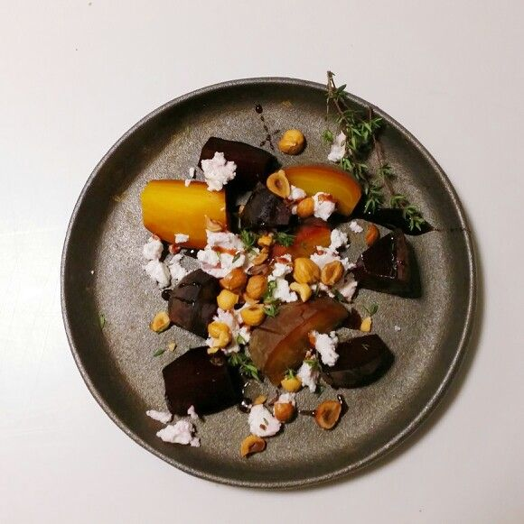 Red and yellow beets, goat cheese, roasted hazelnuts, black currant vinegar and thyme #sørenwiuff #birkemosegaard #biodynamic # anarchistic