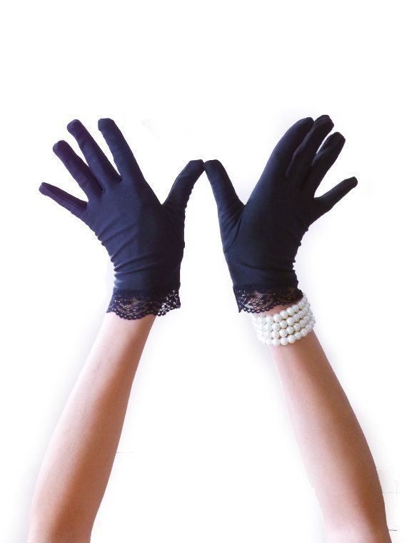 Black Glove, Vintage Glove, Retro, Lace, Evening, Short, Flapper Glove, Roaring 20s , Flapper Accessories, Costume Glove Great Gatsby 1920s