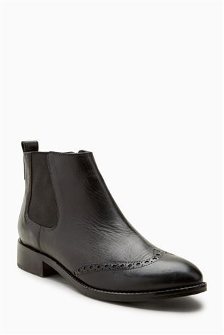 Buy Black Brogue Detail Chelsea Boots from the Next UK online shop