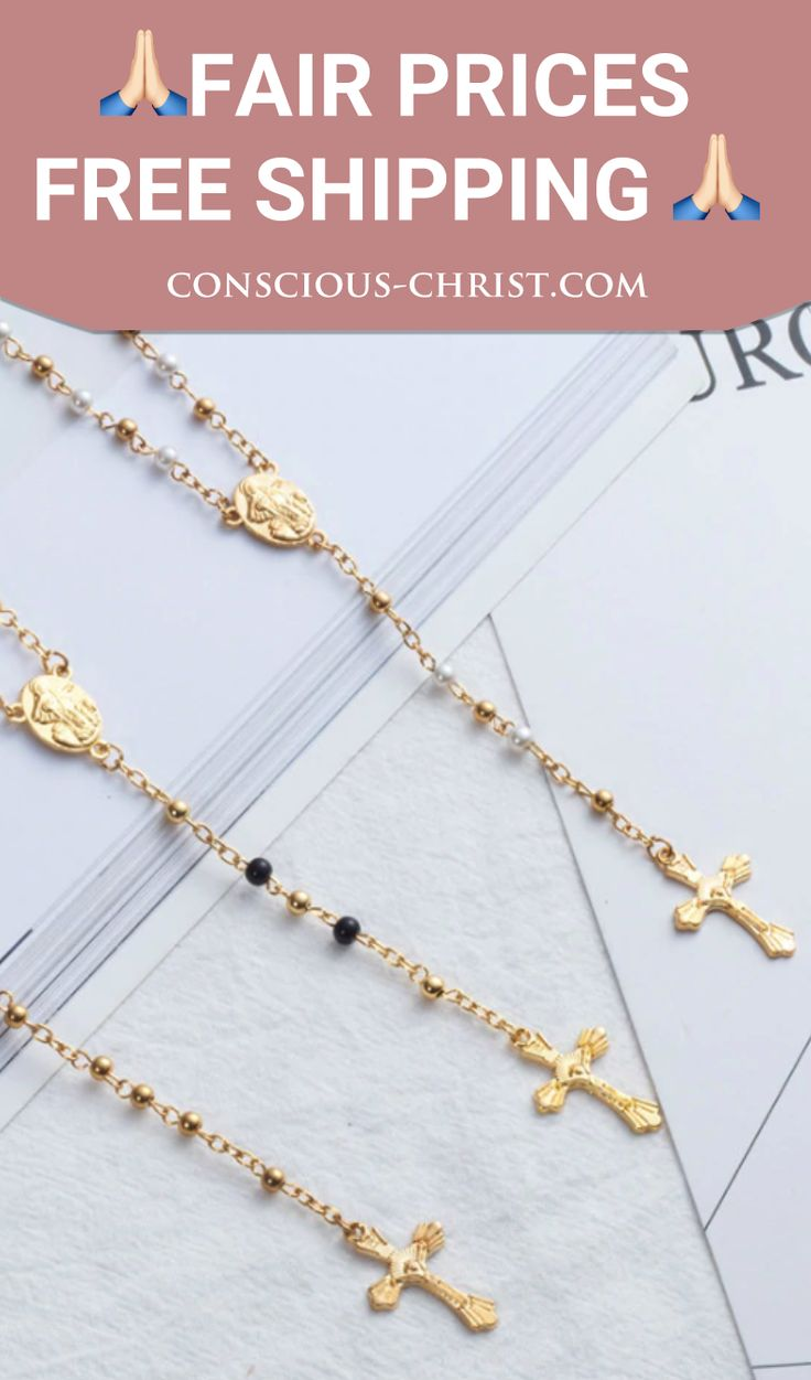 Our Timea rosary comes in different variations: Gold, Silver and Pearl White 💝 Beautiful golden cross as a pendant and little Madonna embroidery.   Be sure to check out our other products in the sale category - 10% of our earnings will go to charity. 🙏   #jesuslovesyou #jesuslover #JesusLovesMe #amen #hope #holy #blessed